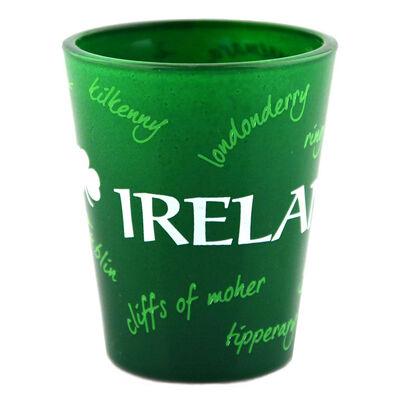 Green Irish Shot Glass With Graffiti Design Of Places In Ireland