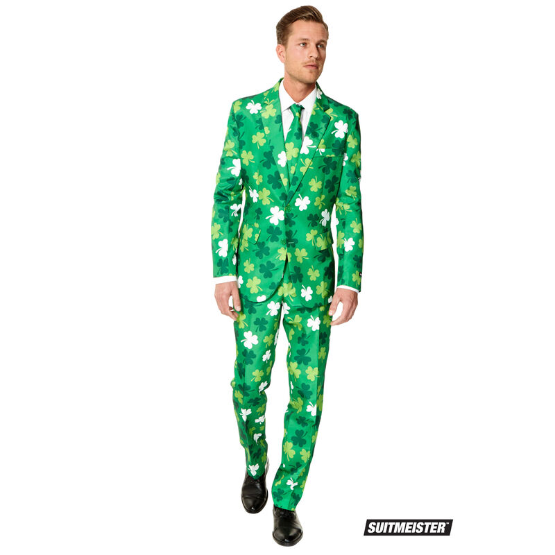 Mens Green Stylish Irish Shamrock Designed Suit