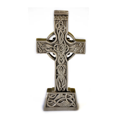 Mullingar Pewter Celtic Cross Statue With Celtic Design