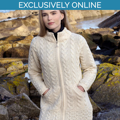 West End Knitwear Natural Colour Cork Long Zip Coat 100% Merino Wool