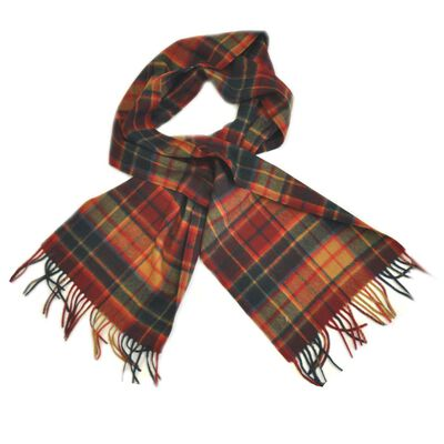 Carrolls Designs Antique Buchanan Wool Scarf With Red  Green and Beige Tartan Des.