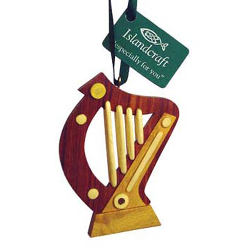Irish Wooden Harp Hanging Decoration