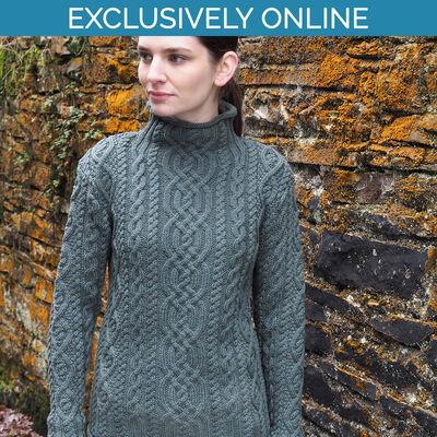 West End Knitwear Thundra Colour Kylemore Super Soft Funnel Neck Aran Sweater