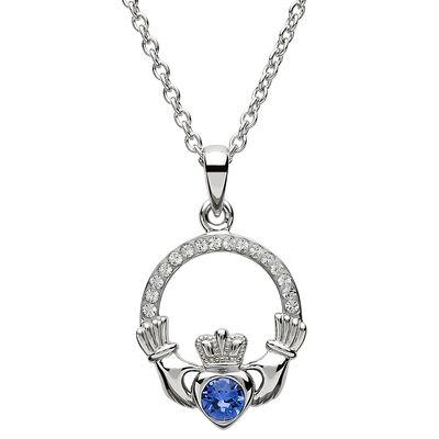 Platinum Plated Claddagh September Birthstone Pendant With Swarovski Crystals