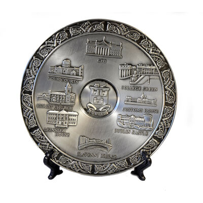 Mullingar Pewter Commemorative Plate With Dublin Design
