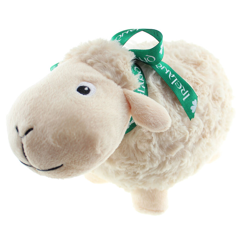 White Sheep Soft Toy With Green Ireland Ribbon
