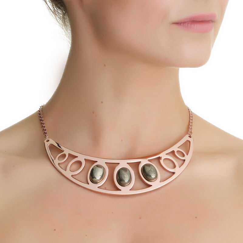 Lir Rose Gold Plated Neckpiece With Pyrite Stone Settings Design
