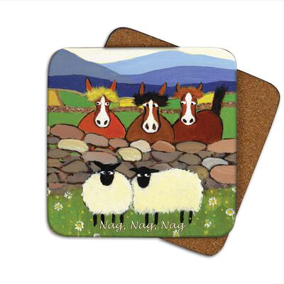 Irish Designed Coaster With Two Sheep And Three Horses With The Text 'Nag Nag Nag'