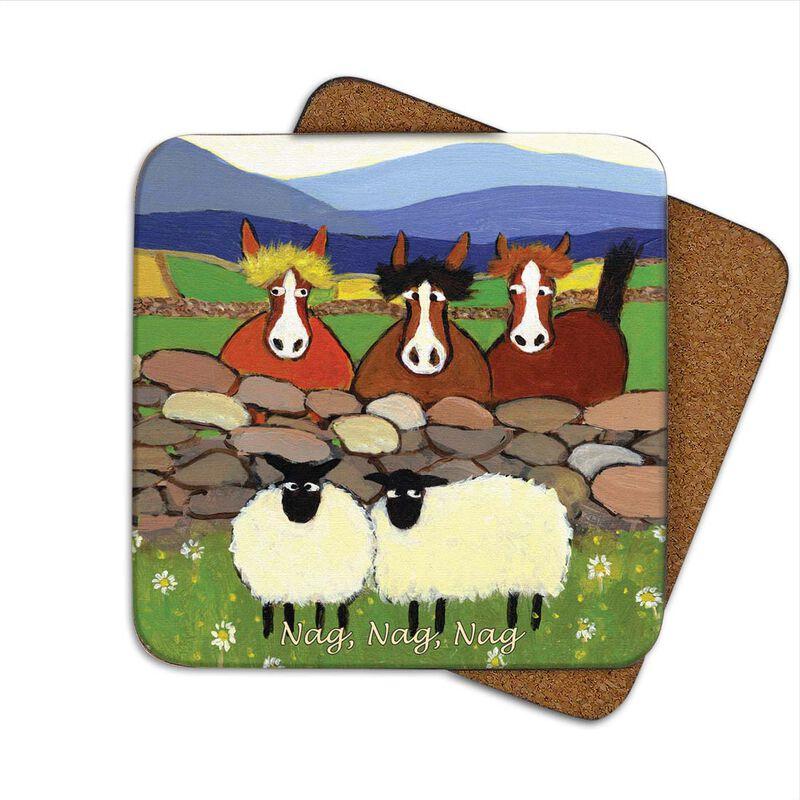 Irish Designed Coaster With Two Sheep And Three Horses With The Text 'Nag Nag Nag'