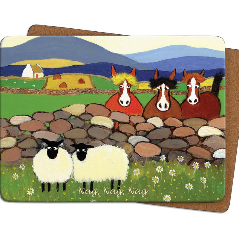Irish Designed Placemat With Two Sheep And Three Horses With The Text 'Nag Nag Nag'