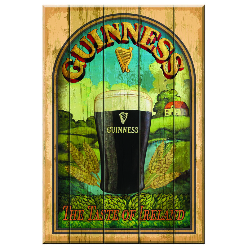 "Nostalgisches Guinness-Holzschild ""Taste Of Ireland"" mit Pint"