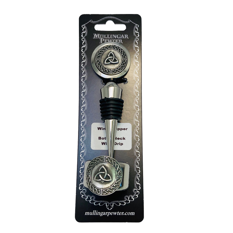 Mullingar Pewter Wine Stopper & Ring With Embossed Trinity Design