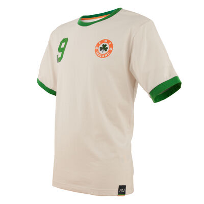 Retro Designed Ireland Football Cotton T-Shirt, White Colour