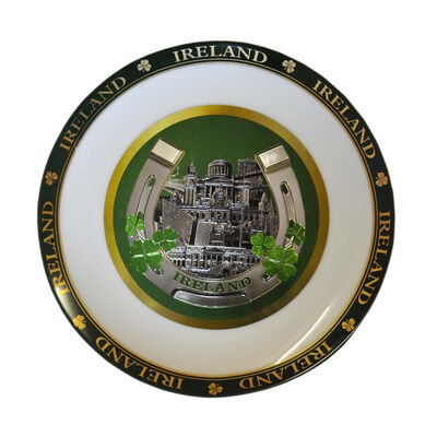 Ceramic Ireland Foil 20cm Display Plate  Comes With Display Stand