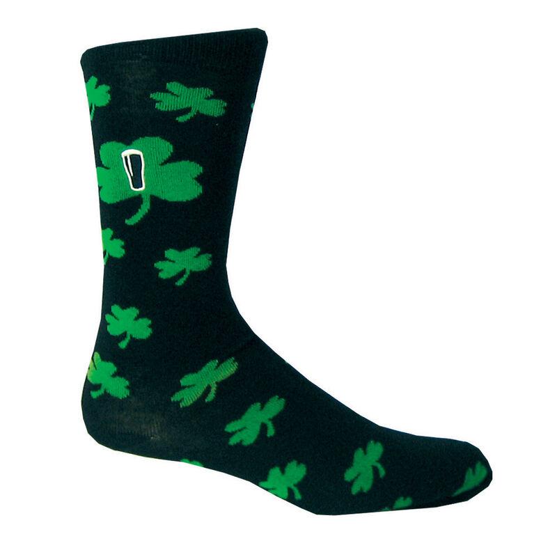 Black Guinness Socks With Green Shamrock Print