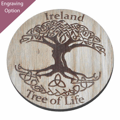 Irish Wooden Designed Coaster With Celtic Ireland Tree Of Life Design