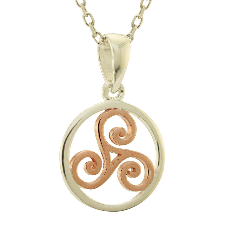 Hallmarked Sterling Silver Triskele Pendant In Silver And Rose Gold