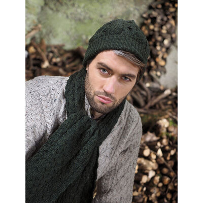 100% Merino Wool Honeycomb Knitted Hat & Scarf Set, Green Colour
