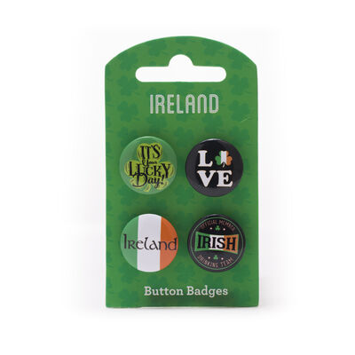 Ireland Four Pack Of Button Badges Designed With Varies Irish Designs