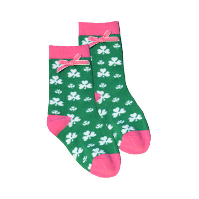 Kid's Socks With White Shamrock Print  Pink Ribbons  Green Colour