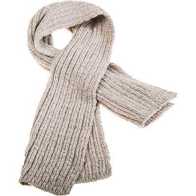 100% Merino Wool Pull Through Ribbed Aran Scarf, Oatmeal Colour