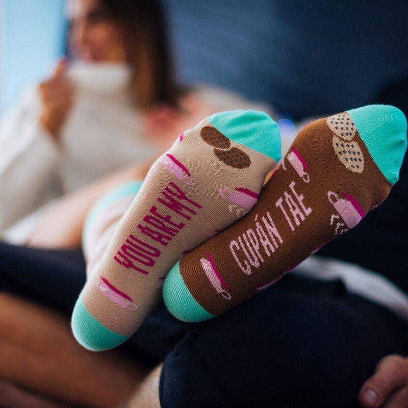 Irish Socksciety You Are My Cupán Tae Socks With Tea And Cookies Design