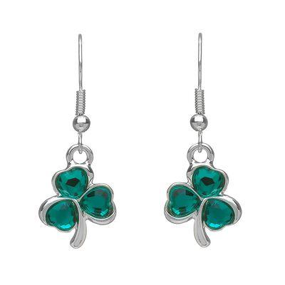 Versilberte Kleeblatt-Ohrringe mit grünen Zirkonia-Steinen