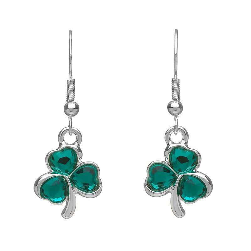 Silver Plated Shamrock Earrings With Green Cubic Zirconia Design