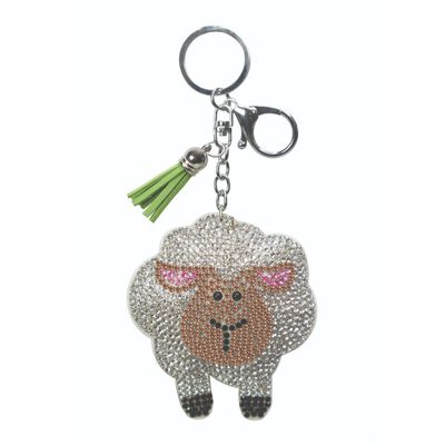 Sparkly Stones Keyring With White Sheep Design And Green Tassel