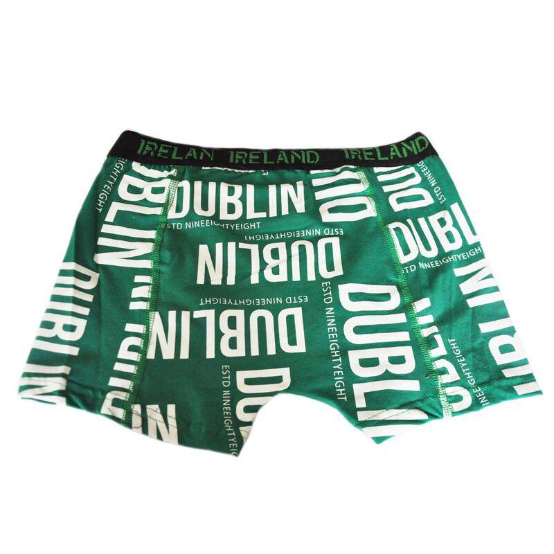 Men's Ireland Boxer Shorts With Dublin Design Text  Green Colour