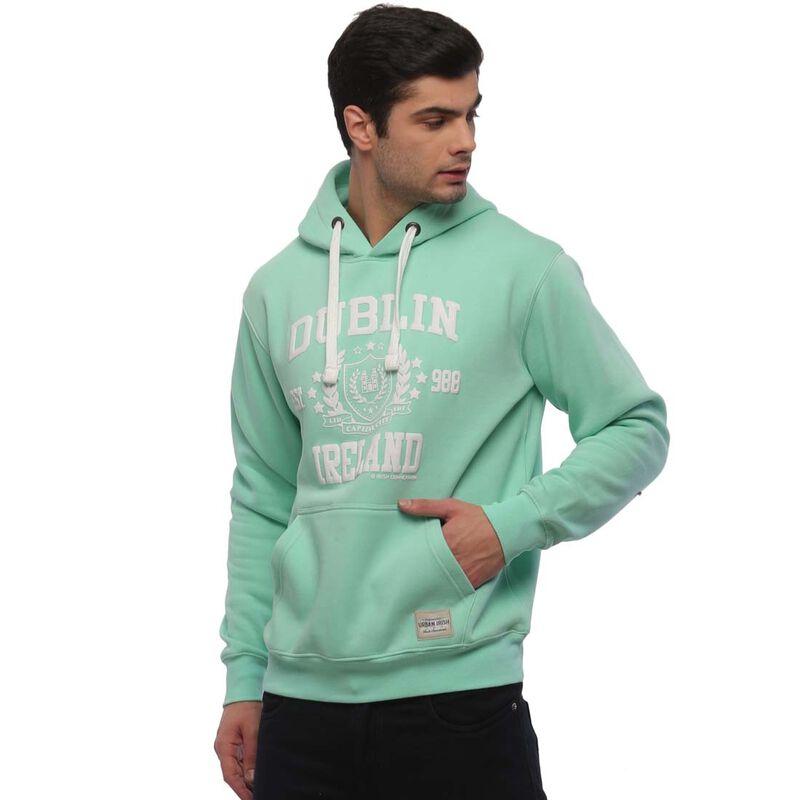 Pullover Hoodie With Dublin Ireland Est 988 Print  Mist Green Colour
