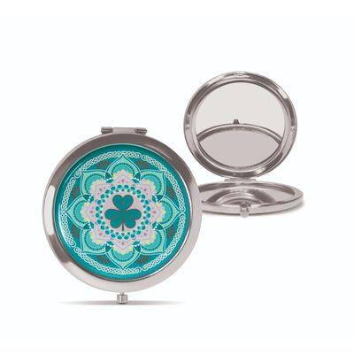 Ireland Shamrock Celtic Designed Lovely Metal Pink Compact Mirror