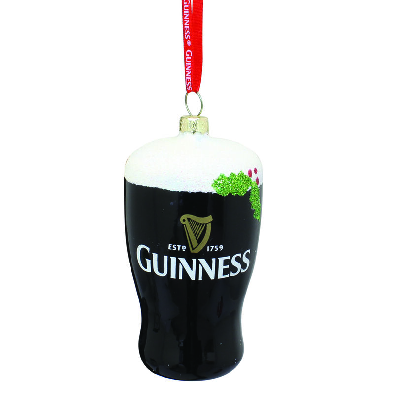 Guinness Christmas Plastic Pint-Shaped Bauble With A Red Ribbon