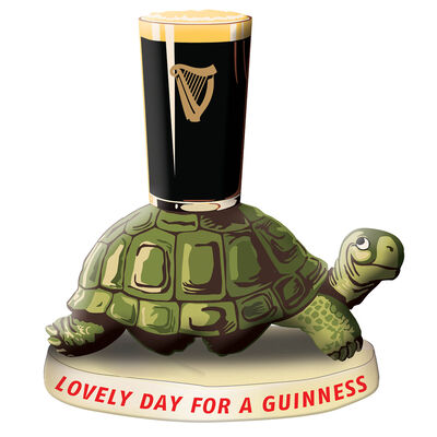 Official Guinness Resin Figurine With Tortoise And Pint Glass Design