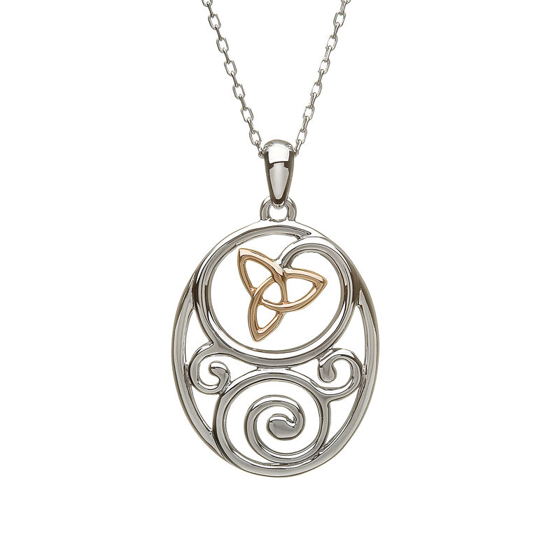 Hallmarked Sterling Silver & Rose Gold Trinity Knot Pendant
