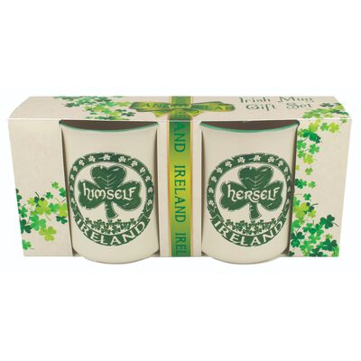 Himself and Herself Two-Pack Mugs With Rustic Irish Shamrock Design