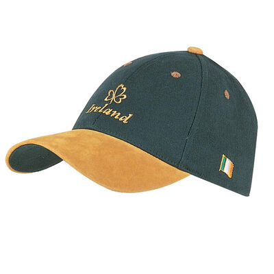 Baseball Cap With Yellow Embroidered Ireland And Shamrock  Green Colour