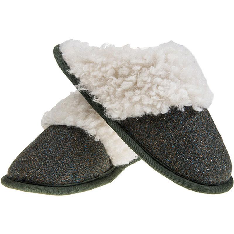 Aran Woollen Mills Kerry Tweed Slip on Slipper, Green Colour