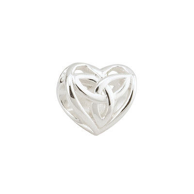 Bead Charm With Trinity Knot Symbol In Heart Shape, Hallmarked Sterling Silver