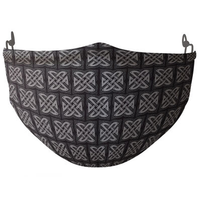 Re-Usable Face Covering Black & Grey Celtic Knot Design With Adjustable Ear Loops