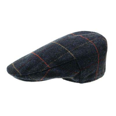 The Quiet Man Collection Navy Herringbone Tartan Wool Cap Premium Quality
