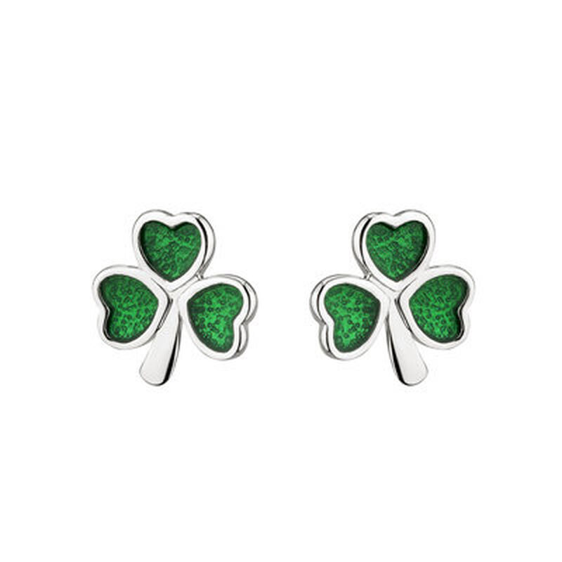 Hallmarked Sterling Silver Enamel Coloured Stud Earrings with Shamrock Design