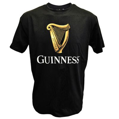 Black Guinness Classic T-Shirt With An Irish Gold Harp Design