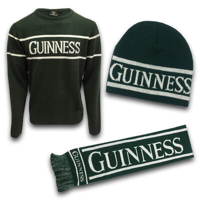 Green Guinness Woolly Warm Set -Sweater, Beanie Hat & Scarf