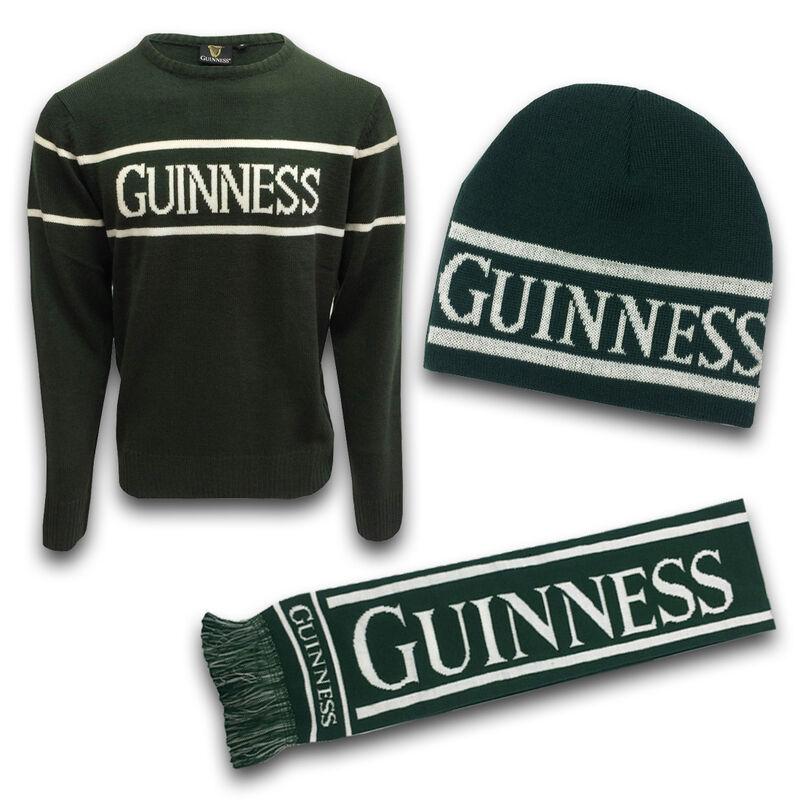 Green Guinness Woolly Warm Set -Sweater, Beanie Hat & Scarf