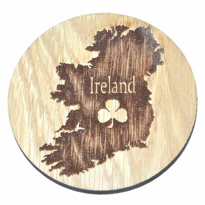 Irish Wooden Designed Coaster With Map Of Ireland And Shamrock Design