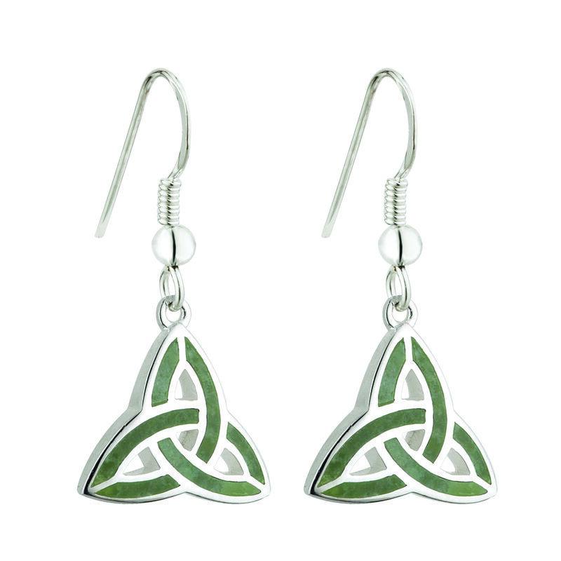 Hallmarked Sterling Silver Connemara Trinity Knot Drop Earrings
