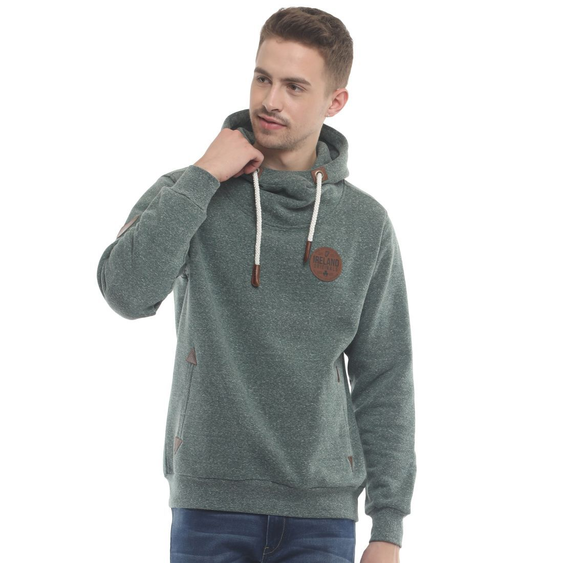 Buy Ireland Hoodie With Leather Patch Nude Colour