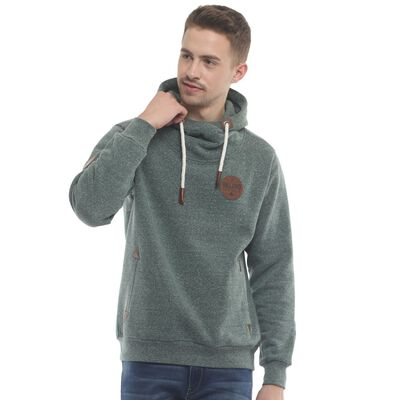 Irish Hoodie With Ireland Original Leather Patch  Green Snow Melange Colour