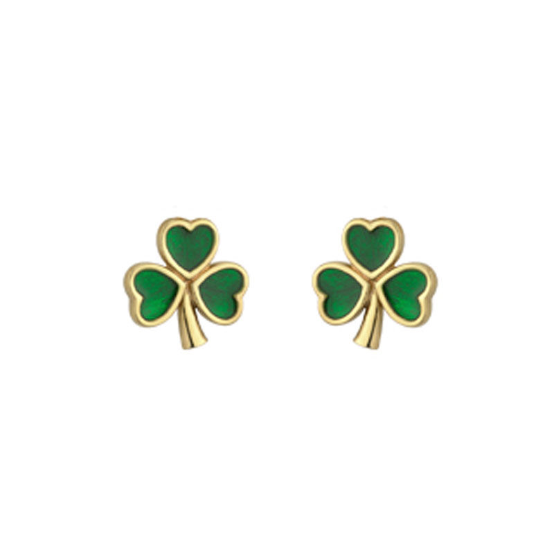 Gold Plated Mini Shamrock Stud Earrings With Green Leaves